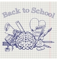 Back to school with brain stationery vector image vector image