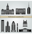 Baltimore landmarks and monuments vector image