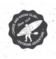 canoe and kayak club badge vector image