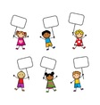 Cartoon children with signs vector image vector image
