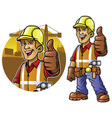 Cartoon of construction worker with thumb up hand vector image