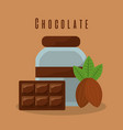 chocolate bar and bottle cream cocoa vector image