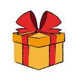 christmas gift box bow ribbon decoration vector image