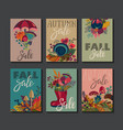 collection of autumn cards vector image vector image