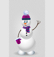 cute cartoon snowman in purple knitted hat on vector image