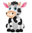 Cute cow cartoon sitting vector image vector image