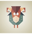 Cute origami sheep from folded paper vector image vector image