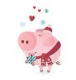 Cute piggy character in a winter scarf