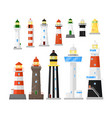 different kind lighthouse or beacon tower icon set vector image