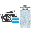 dollar cash icon with 1000 medical business icons vector image vector image