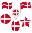flag of the denmark performed in defferent shapes vector image vector image