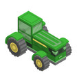 green big tractor icon isometric style vector image vector image
