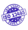 grunge textured iso 13485 stamp seal vector image
