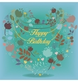 Happy birthday card with floral heart vector image