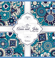 invitation card with blue doodle pattern vector image vector image