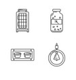 line icon set of accessories for bird in cage vector image vector image