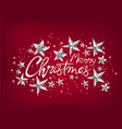 merry christmas greeting card with silver stars vector image vector image