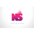 ns n s letter logo with pink purple color and vector image vector image