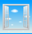 open white double window on blue sky background vector image