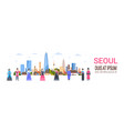 people in traditional korean costumes over seoul vector image