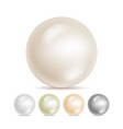realistic pearls isolated set 3d shiny vector image vector image