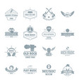 rock music logo icons set simple style vector image vector image