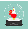 Rooster Cock bird Crystal ball with snowflakes vector image vector image