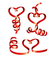 satin hearts of red ribbons vector image vector image