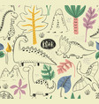 seamless pattern with hand drawn dinosaurs vector image vector image