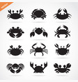 Set of crab icons on white background aquatic