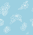 simple chamomile doodle pattern on blue background vector image