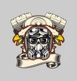 skull wearing helmeteagle and machine bikers hand vector image vector image