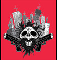 smiling skull guns panel city background vector image
