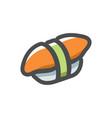 sushi asian food icon cartoon vector image