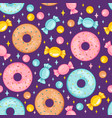 sweet candy and donut seamless pattern vector image vector image