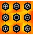Symbol Hexagonal icons set on abstract orange vector image