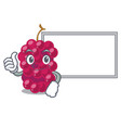 thumbs up with board mulberry fruit on a cartoon vector image vector image
