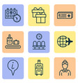 transportation icons set with gift box world vector image vector image