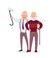 two cheerful senior men friends standing together vector image vector image