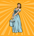 village woman with a bucket water vector image vector image