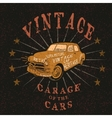 Vintage label with retro car vector image vector image
