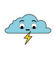 weather cloud rainy with ray kawaii character vector image vector image