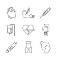 white background with monochrome icons of health vector image