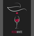 wine glass red and white concept design background vector image vector image
