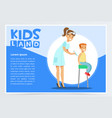 woman pediatrician giving boy injection in arm vector image vector image