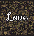 word love surrounded by icons and hearts vector image vector image