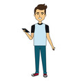 young man with smartphone avatar character vector image vector image