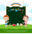 colorful back to school green chalk board vector image
