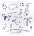 Hand-draw tropical animals vector image