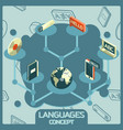 languages color isometric concept icons vector image